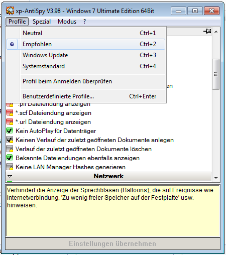 XP-Antispy screenshot